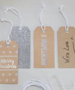 Geschenkanhänger Weihnachten metallic