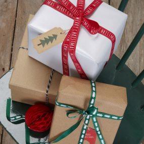 Geschenkband rot grün Weihnachten