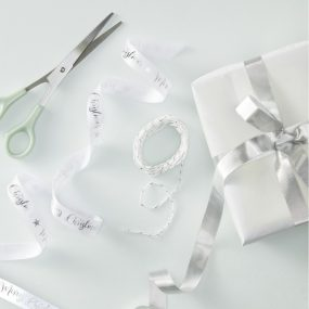 Geschenkband weiß silbermetallic