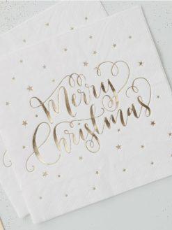 Serviette mit gold folierten Merry Christmas