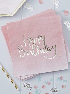 Servietten Rosa Happy Birthday