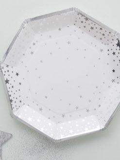 Papierteller in silber metallic mit Sternchen