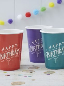 Papierbecher Happy Birthday modern