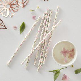 Papierstrohhalm florales Design