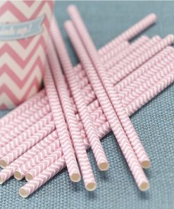 Papierstrohhalme pink im Chevron Design