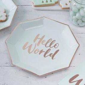 Papierteller Hello World