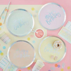 Papierteller in Pastellfarben Geburtstag