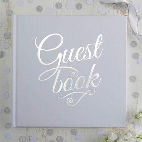 Quadratisches Gästebuch weiss silber